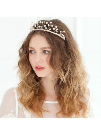 Luxury Golden Hairband Pearls Headpiece for Brides