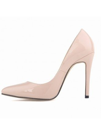 Nude Patent-Leather Stiletto Closed Toe Pumps