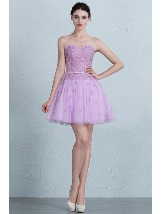 Cute Lavender Mini Short Tulle Sweetheart Party Dress