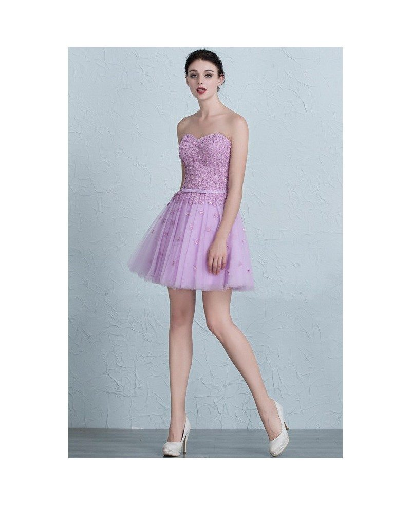 Cute Lavender Mini Short Tulle Sweetheart Party Dress #EPJ04 $109 ...