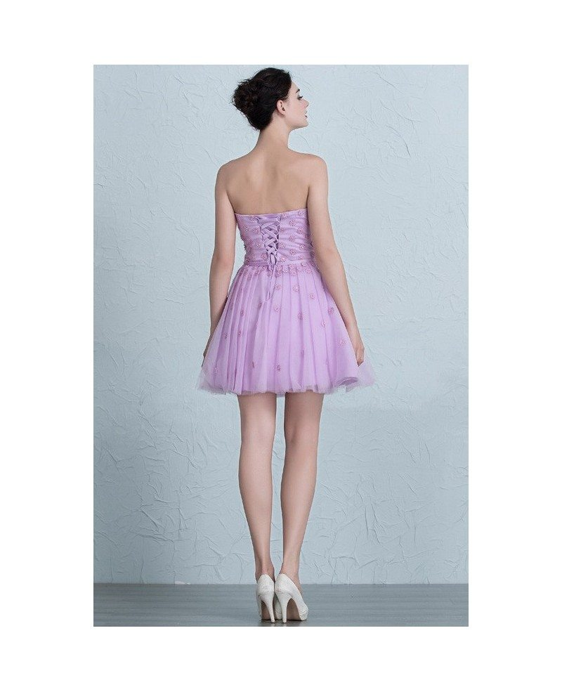 Cute Lavender Mini Short Tulle Sweetheart Party Dress #EPJ04 $109 ...