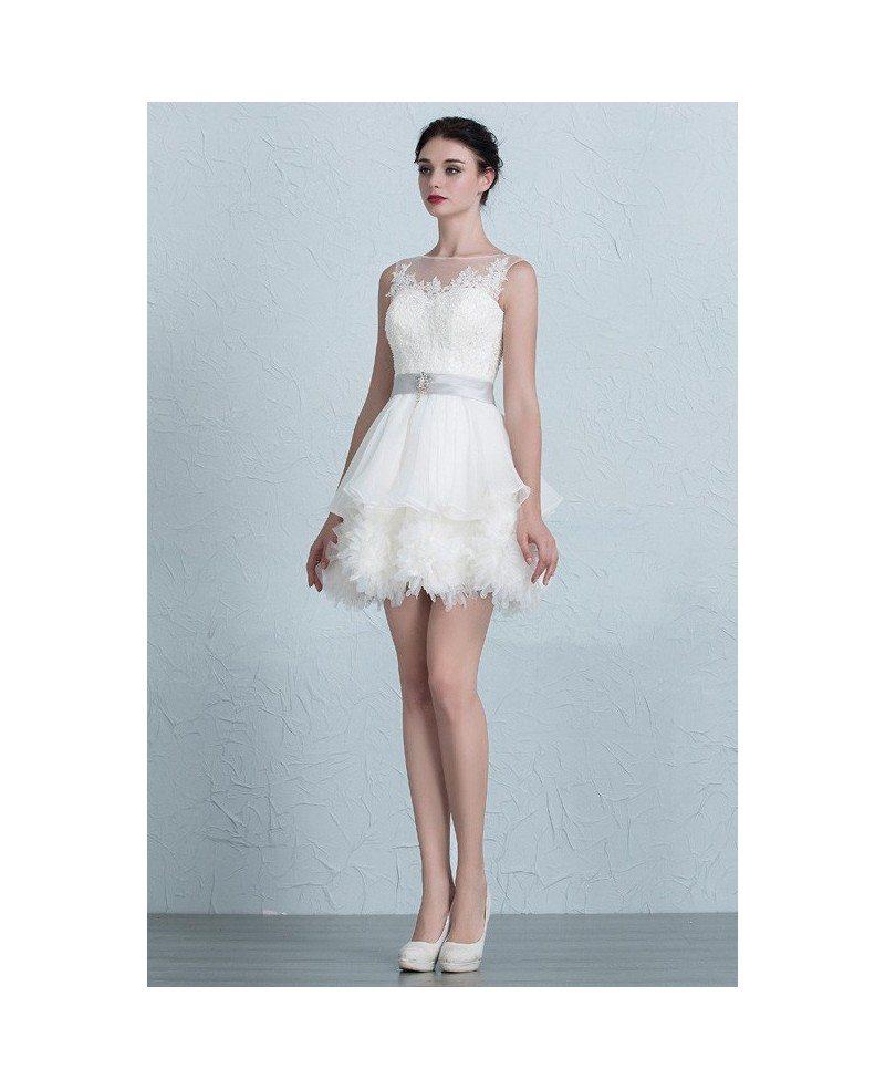 Chic Tutu Short Wedding Dresses 2017 Puffy Ivory High Neckline Style ...