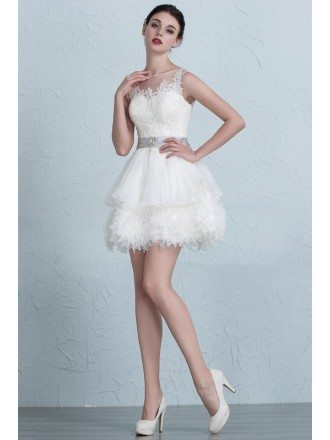 Puffy Mini Short Ivory High Neckline Wedding Dress with Sash