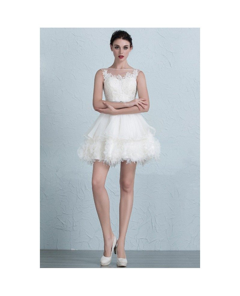 Chic Tutu Short Wedding Dresses 2017 Puffy Ivory High Neckline Style ...