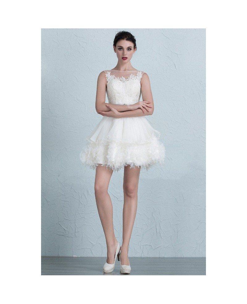 Chic tutu short wedding dresses 2017 puffy ivory high for Ivory short wedding dress