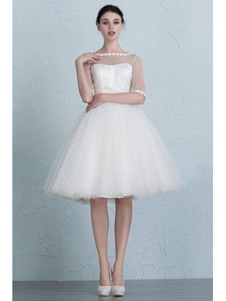 Vintage Polka Dot Knee Length Tulle Wedding Dress with Half Sleeves