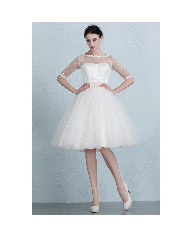 Vintage short wedding dresses polka dot knee length tulle for Knee length wedding dresses with sleeves