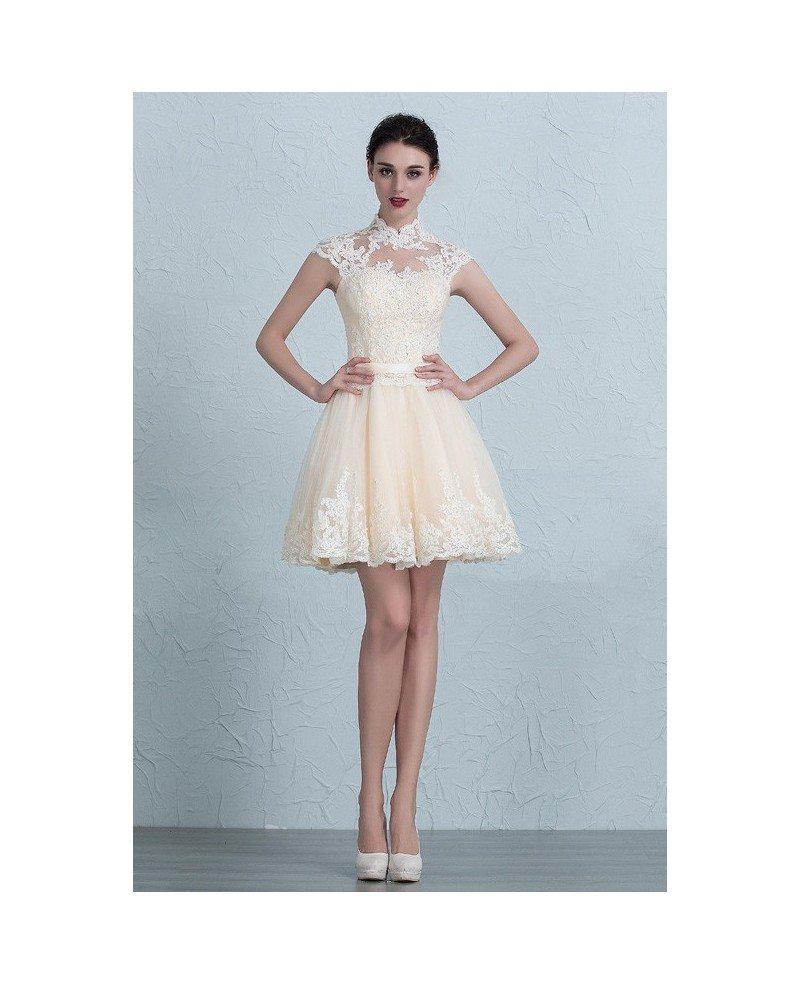Lace short wedding dresses 2017 reception unique high neck for Unique wedding dresses with sleeves