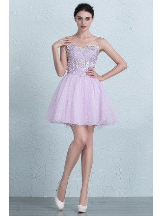 Lovely Beaded Top Sweetheart Mini Tulle Homecoming Prom Dress with Corset