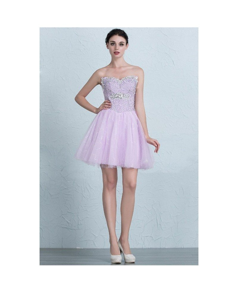 Lovely Beaded Top Sweetheart Mini Tulle Homecoming Prom Dress with ...