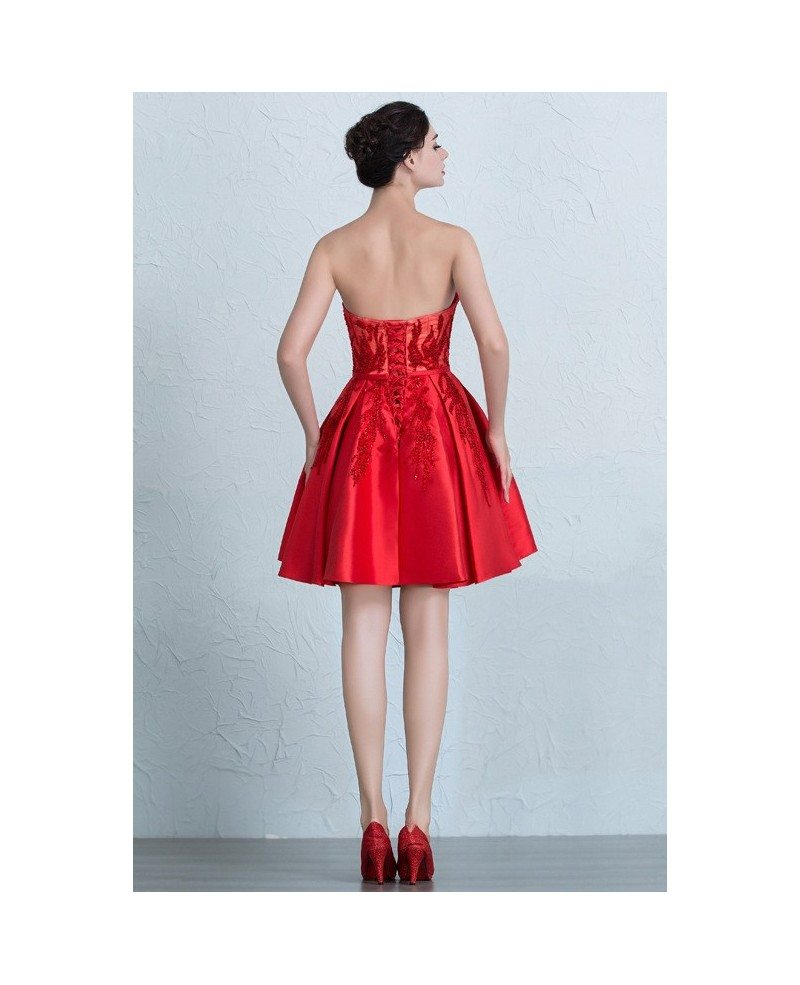 Red Beaded Sweetheart Satin Short Party Dress with Corset Back ...