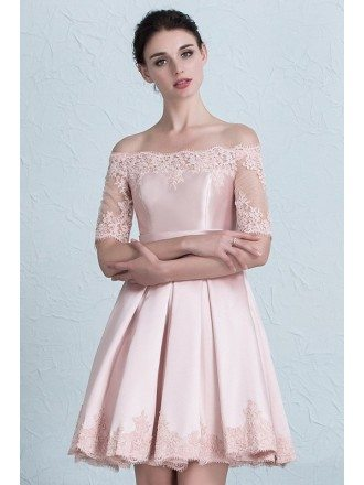 Pink Of the Shoulder Lace Wedding Party Dress with Lace Sleeve