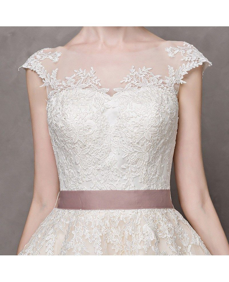 Vintage short wedding dresses lace cap sleeves ivory high for Ivory vintage lace wedding dress