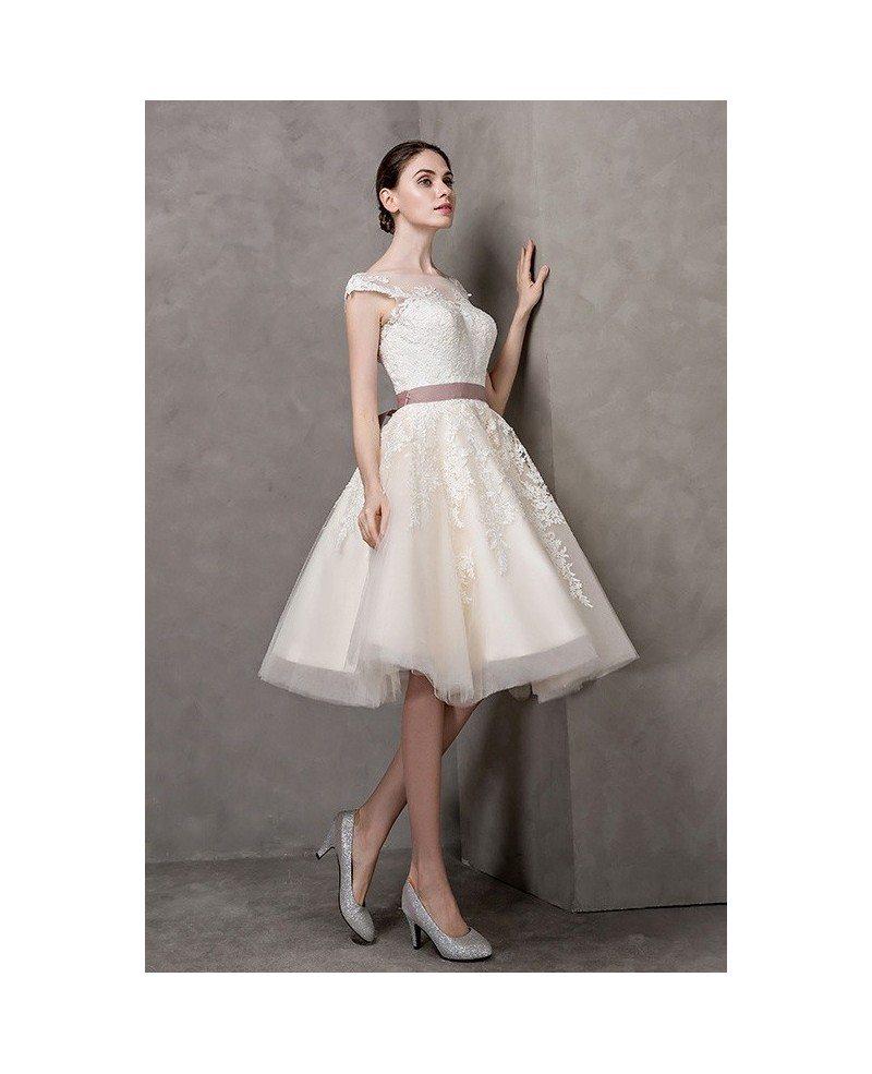 vintage short wedding dresses lace cap sleeves ivory high