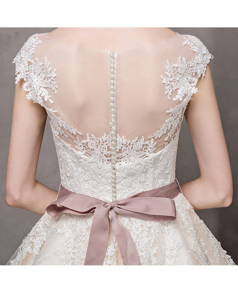 Vintage Short Wedding Dresses Lace Cap Sleeves Ivory High