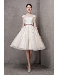 Vintage short wedding dresses lace cap sleeves ivory high neck knee ivory high neck lace cap sleeve knee length wedding dress with sash junglespirit Images