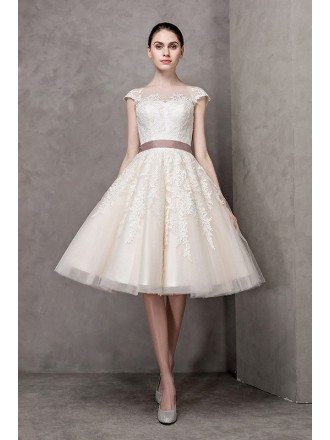 Ivory High Neck Lace Cap Sleeve Knee Length Wedding Dress with Sash