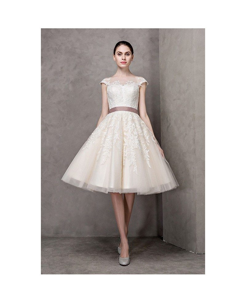 Vintage Short Wedding Dresses Lace Cap Sleeves Ivory High Neck Knee ...
