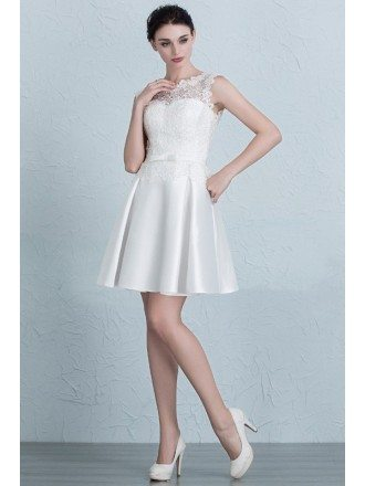 High Neckline Lace and Satin Short Wedding Party Dress with Corset Back
