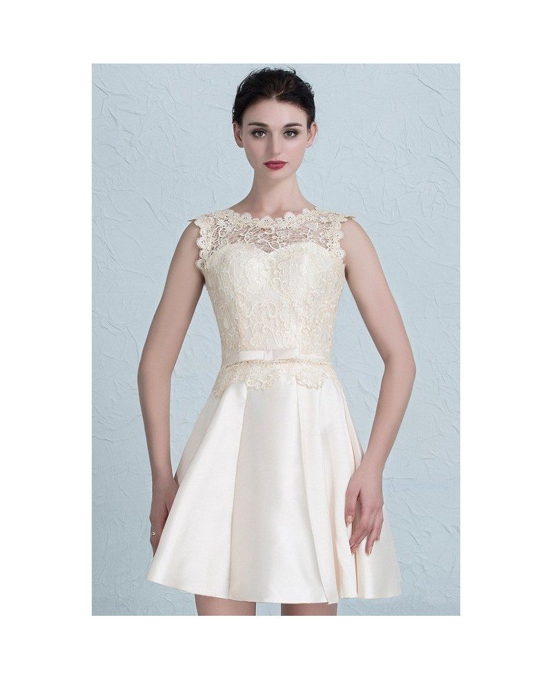 Wedding Dress Short Corset : Cheap short wedding dresses lace satin high neckline style