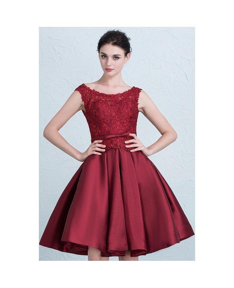Wedding Dress Short Corset : Cheap short wedding dresses lace satin high neckline style