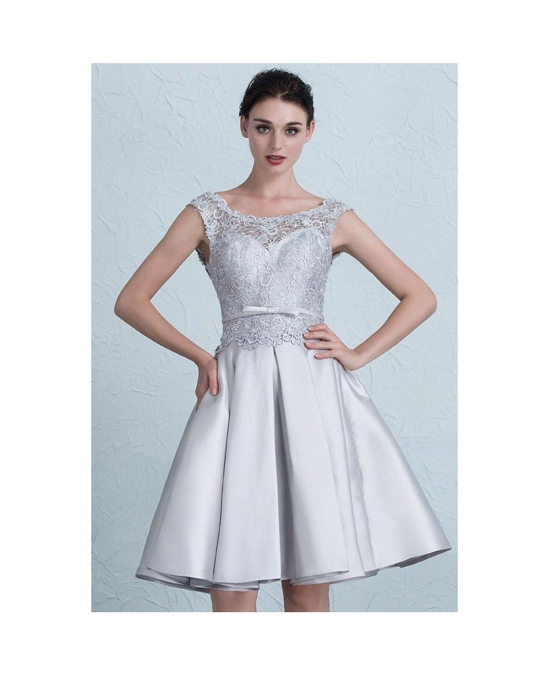 Cheap short wedding dresses lace satin high neckline style for Satin and lace wedding dresses