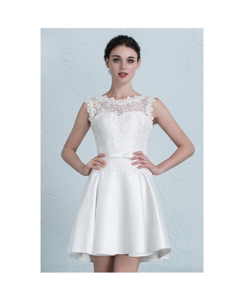 Cheap Short Wedding Dresses Lace Satin High Neckline Style with ...
