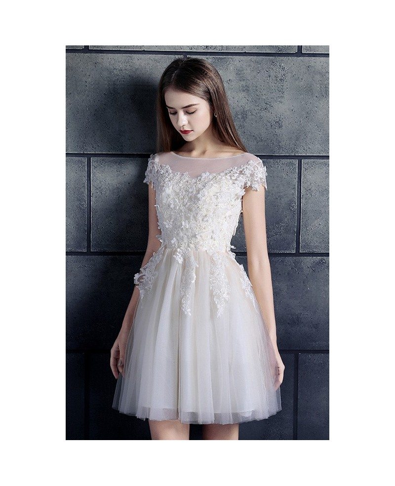Cheap short wedding dresses lace with sleeves white high for Tulle wedding dress with sleeves