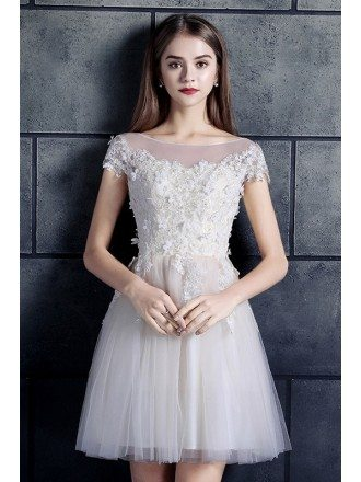 White High Neck Lace Cap Sleeve A-line Short Tulle Wedding Dress