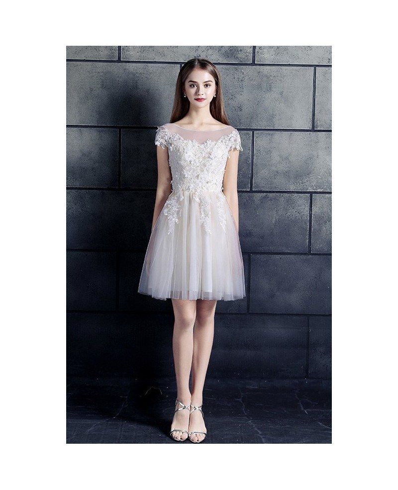 Cheap Short Wedding Dresses Lace With Sleeves White High Neck A Line ...