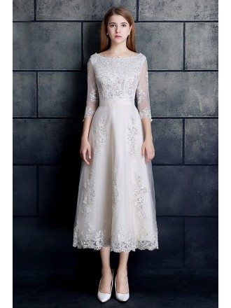 Vintage Tea Length Lace Tulle A-line White Wedding Dress 3/4 Sleeve