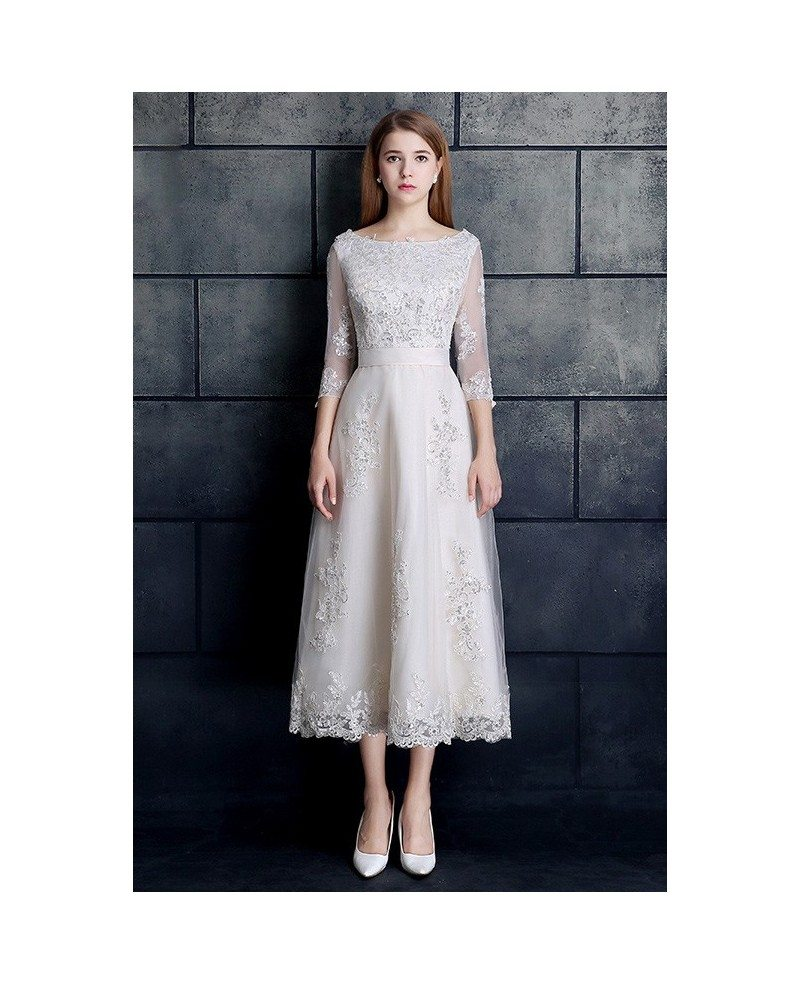 Vintage tea length wedding dress 3 4 sleeve lace tulle a for 3 4 sleeve wedding guest dress