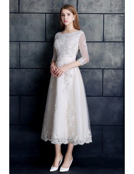 Grace Love Vintage Tea Length Lace Tulle A Line White Wedding Dress 3 4 Sleeve