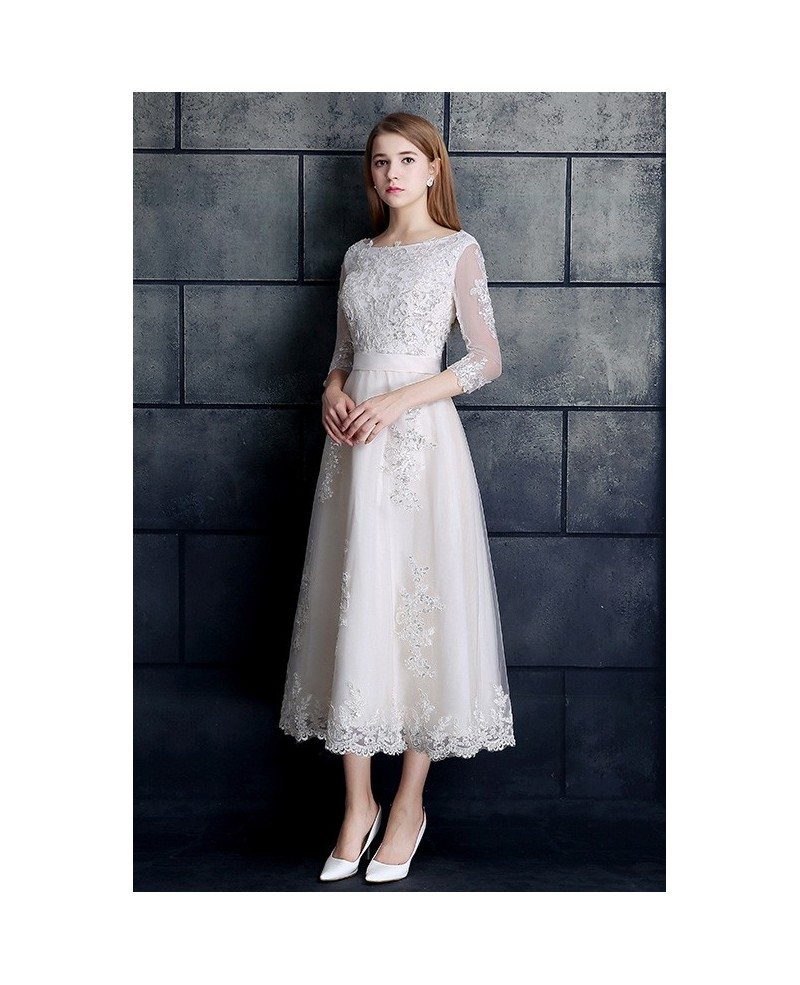 Vintage tea length wedding dress 3 4 sleeve lace tulle a for Retro tea length wedding dresses