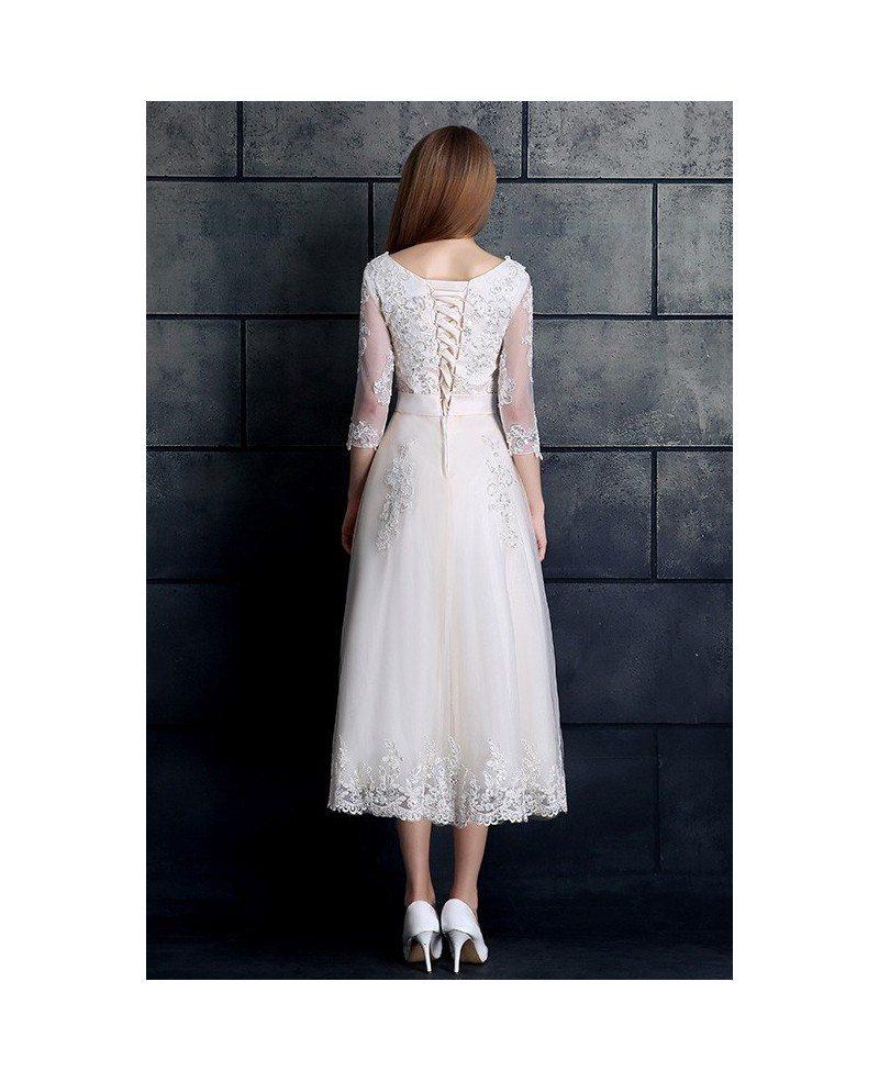 Sapphire Bridal Vintage Wedding Dress 3 4 Sleeve White: Vintage Tea Length Wedding Dress 3/4 Sleeve Lace Tulle A