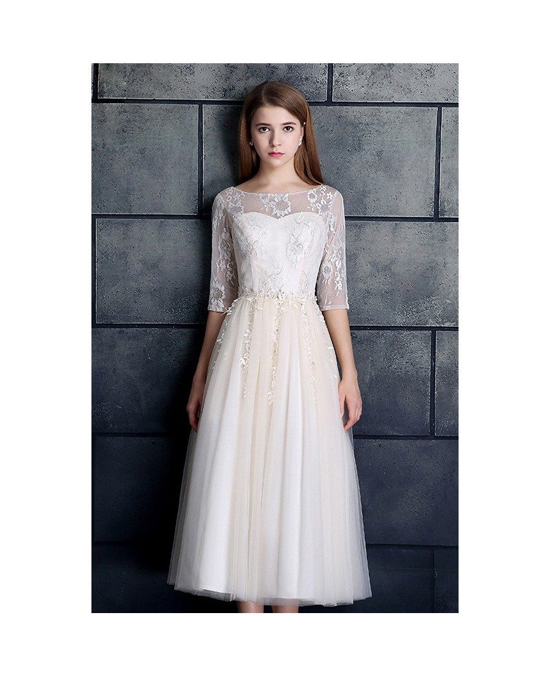 Modest a line tea length wedding dress with sleeves tulle for Modest a line wedding dresses