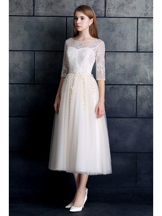 Modest A-line Tulle Tea Length Wedding Dress with Sleeves