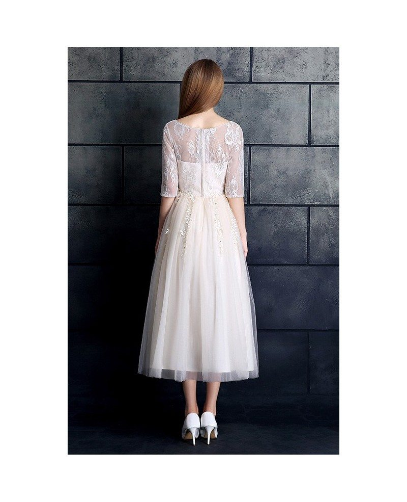 Modest a line tea length wedding dress with sleeves tulle for Wedding dresses tea length with sleeves