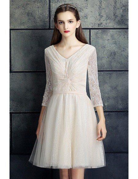 GRACE LOVE Modest V Neck Three Quarter Lace Sleeve Short Bridal Party Dress