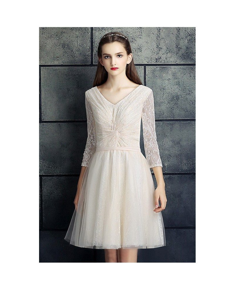A line short wedding dresses lace with sleeves modest v for Petite wedding dresses with sleeves