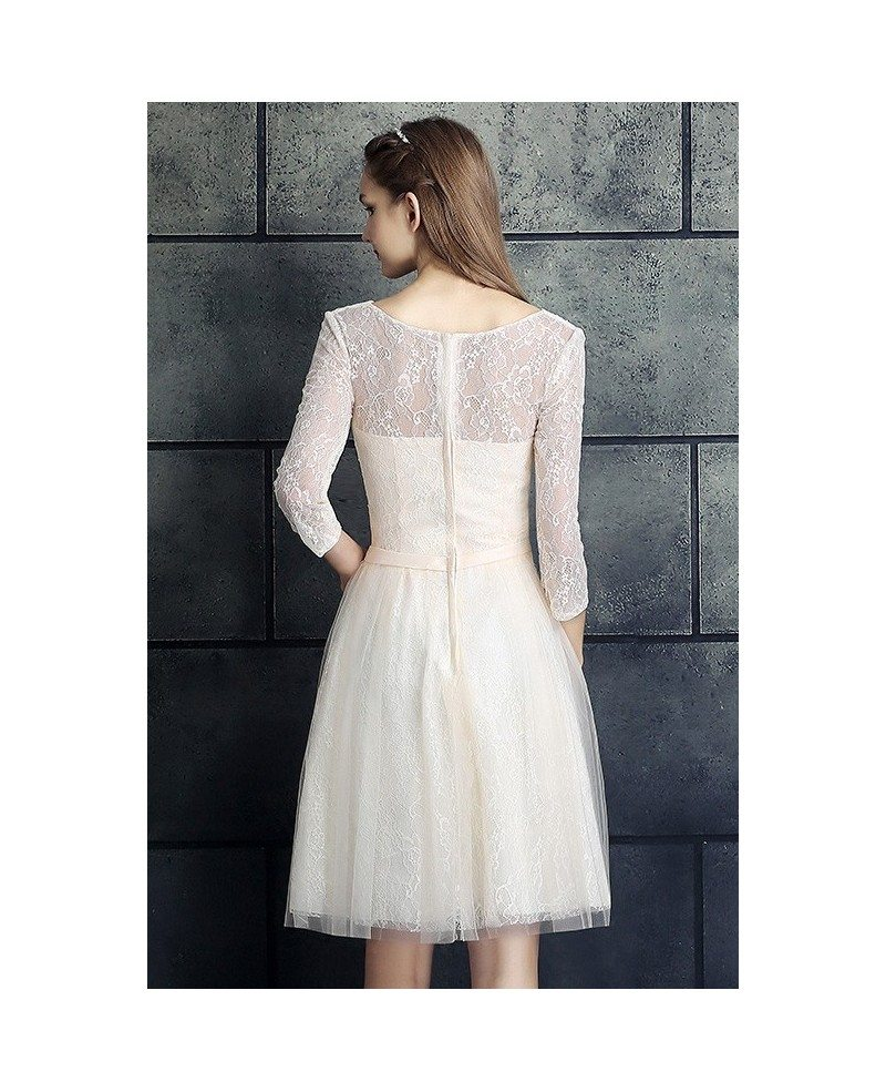 A line short wedding dresses lace with sleeves modest v for Short lace wedding dress with sleeves