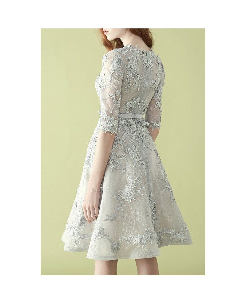 Gorgeous silver lace half sleeve a line tulle wedding for Lace wedding reception dress