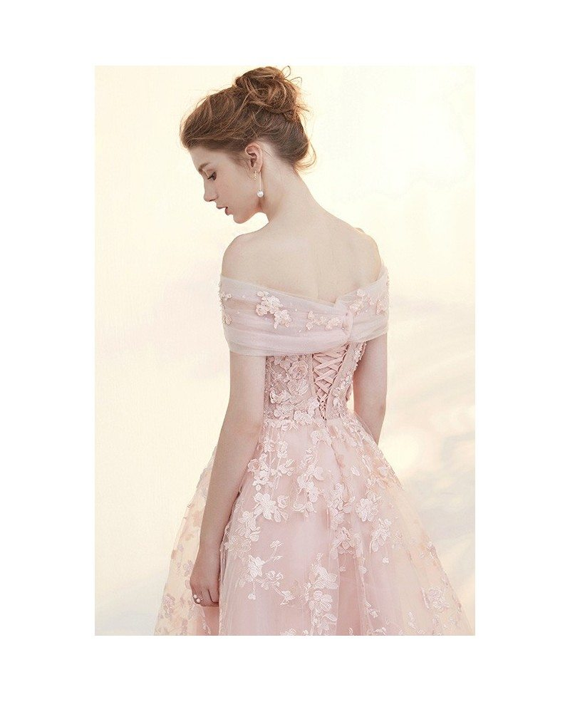 Beautiful Dresses To Wear To A Wedding: Blush Tea Length Wedding Dresses Off The Shoulder