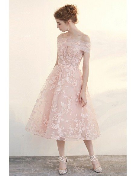 Blush Tea Length Wedding Dresses Off The Shoulder Beautiful ...
