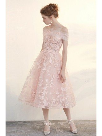 Beautiful Pink Applique Lace Tea Length Tulle Formal Dress