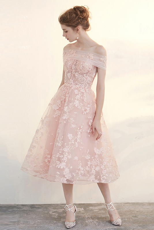 Blush Tea Length Wedding Dresses Off The Shoulder