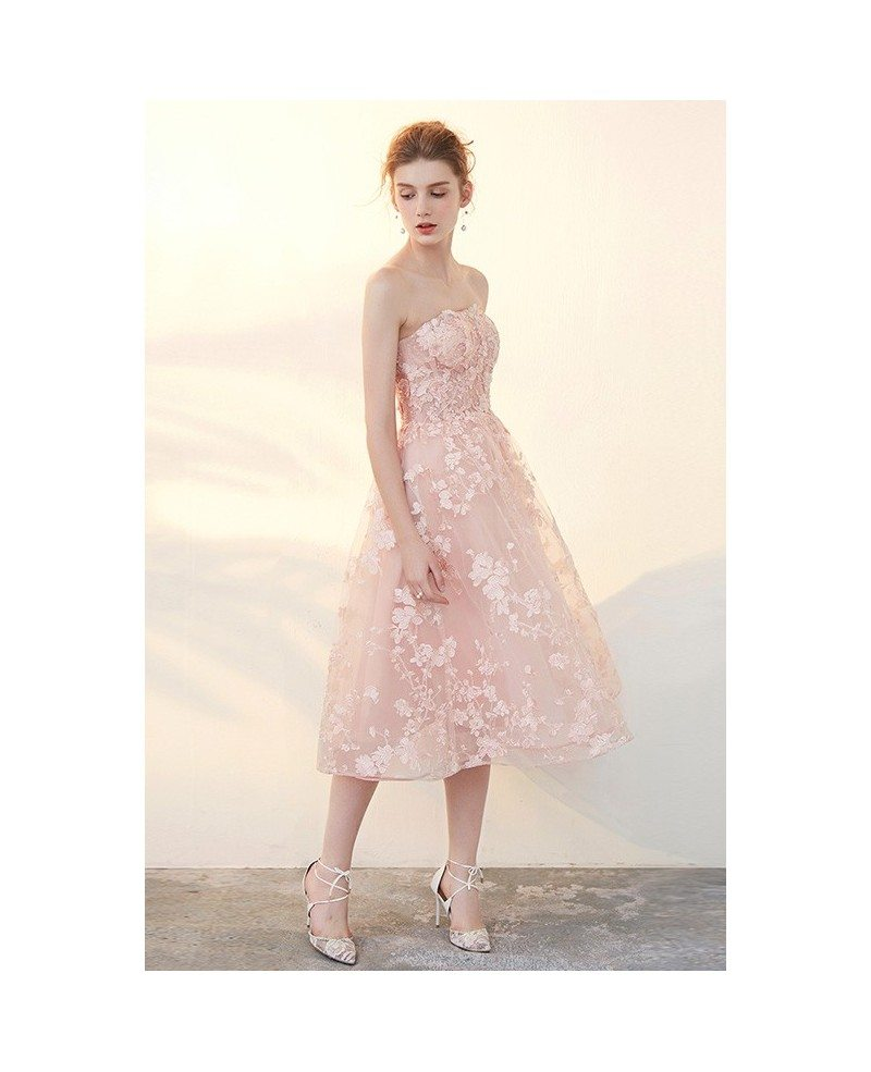 Blush Tea Length Wedding Dresses Off The Shoulder