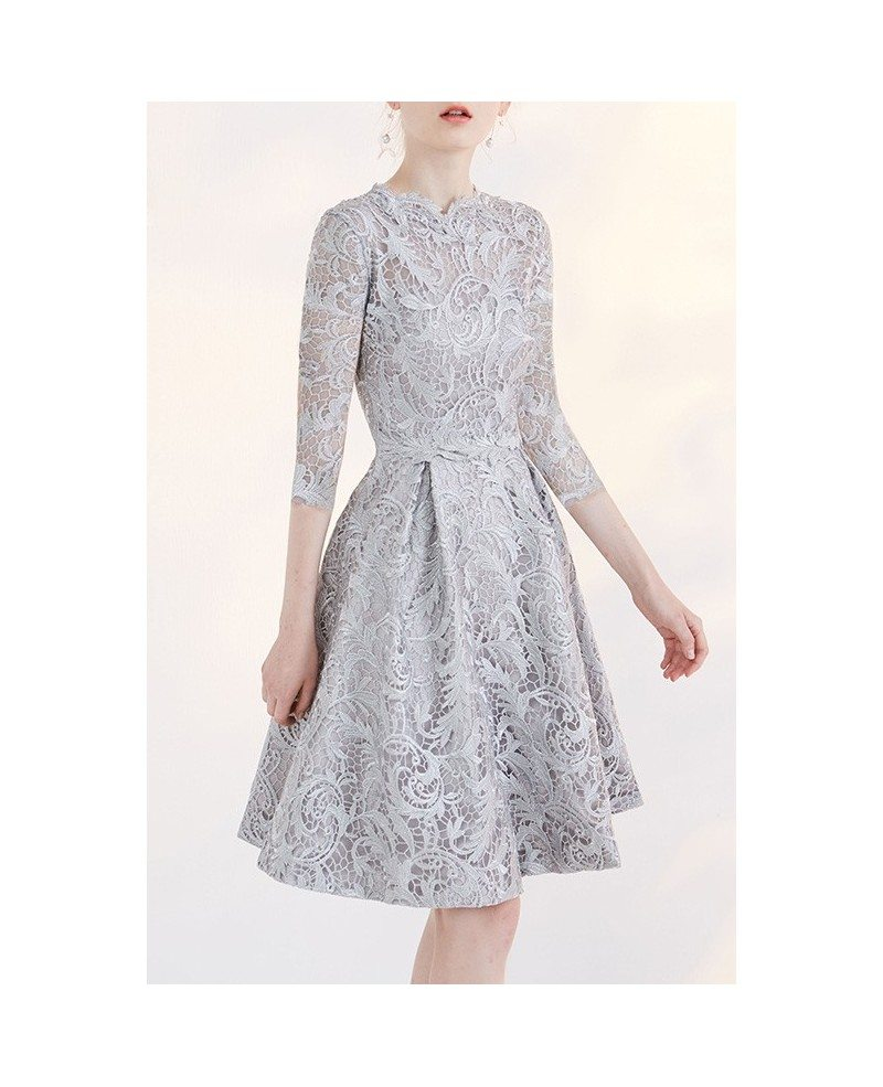 Modest short wedding dresses lace a line 3 4 sleeve full for 3 4 sleeve wedding guest dress