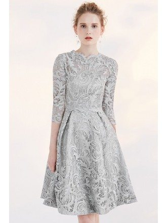 Silver Modest Lace 3/4 Sleeve Full Lace A-line Bridal Party Dress Short