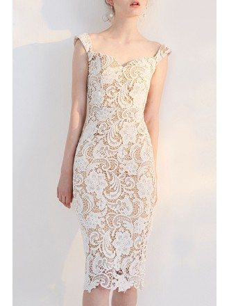 Pretty Fitted Ivory Lace Sheath Knee Length Bridal Party Dress